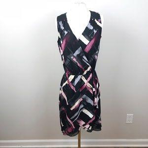 WHBM | Abstract Print V Neck Dress